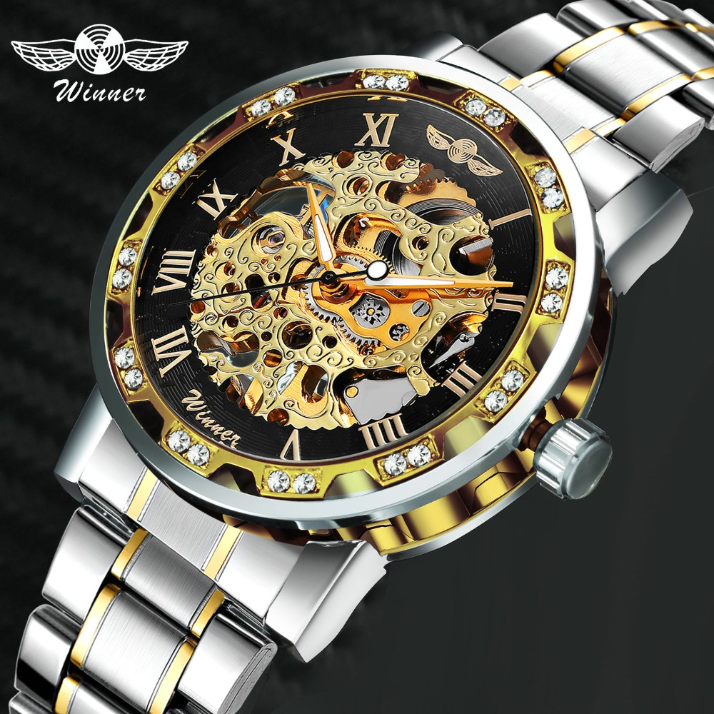 WINNER Hollow Mechanical Mens Watches Top Brand Luxury Iced Out Crystal Fashion Punk Steel Wristwatch For Man 2019 Hot Clock