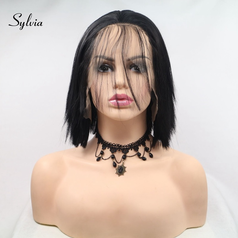 Sylvia Natural Black Hair Short Straight Bob Synthetic Lace Front Wigs With Baby 1b#Color Heat Resistant Fiber For Women Hair