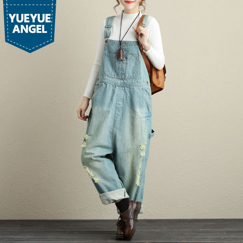 Bottoms Jeans Classic Ripped Light Blue Denim Overalls For Women Casual Loose Rompers Womens Jumpsuit Plus Size Wide Leg Pockets Baggy Pants