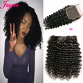 8A Brazilian Deep Wave With Closure 3bundles Hair Weave With1 Lace Closure Cheap Brazilian Virgin Human Hair Weave Bundles Curly