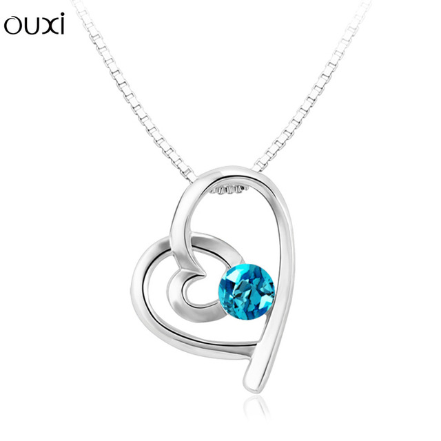 d1dec40bdc39 OUXI Moda Cruz Del Corazón Colgante Collares Con Cristales Redondos Para  Las Mujeres Oro Blanco Color
