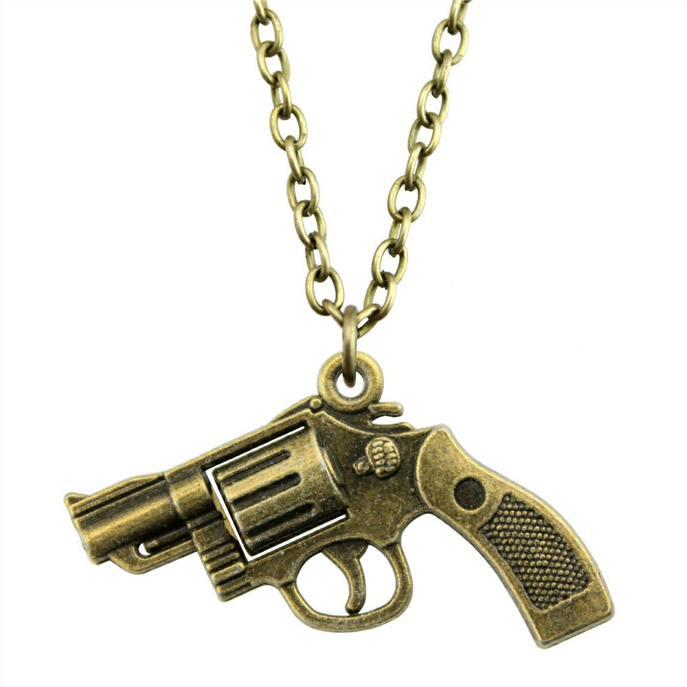 Necklaces & Pendants Fashion Jewelry Gift For Men Dropship Jewellery And Digestion Helping Temperate Wysiwyg 2 Colors 29x22mm Pistol Gun Pendant Necklace