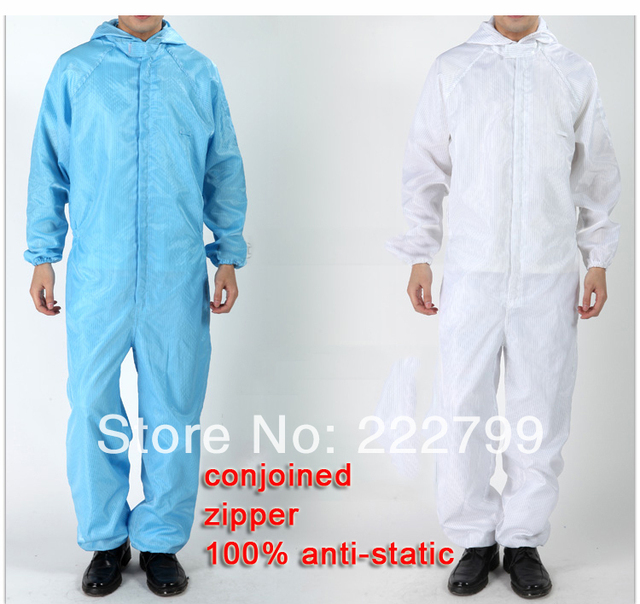 sets men women white blue 100% Polyester Filament  conductive fibre Grey Anti-static coverall protective clothing  work lab coat