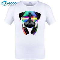2017 New Arrival Men S Fashion Crazy DJ Cat Pug Dog Design T Shirt Cool Wolf