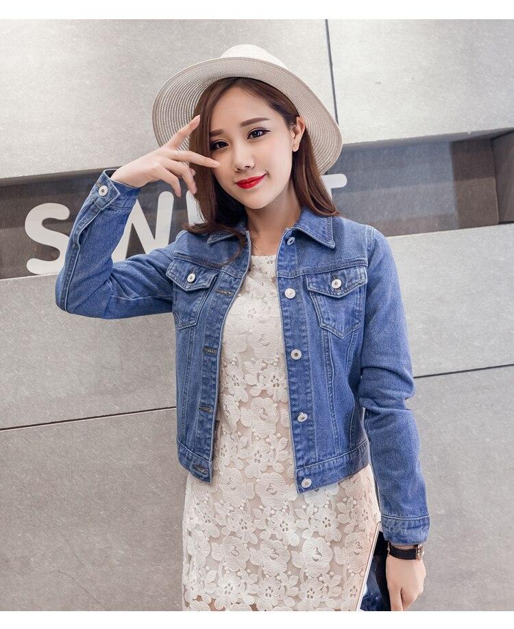 HTB1.WQFfnXYBeNkHFrdq6AiuVXai Spring Autumn Women Clothing Cowboy Coat Loose Long Sleeve Short Female Denim Jacket White Black Blue Pink Bomber Jacket Coats