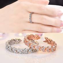 Fashion Jewelry Simple Inlaid Triangle Shape Zircon Crystal CZ Ring For Woman Female Open Manufacturers Direct Sale
