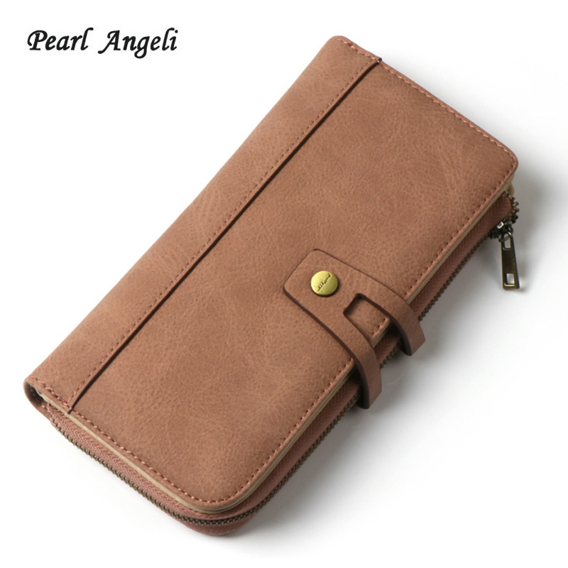 2018Women Wallet Long Designer PU Leather Coin Purse Ladies Clutch Credit Card Holders Hasp Clutch Purse Money Bag Wallet Female
