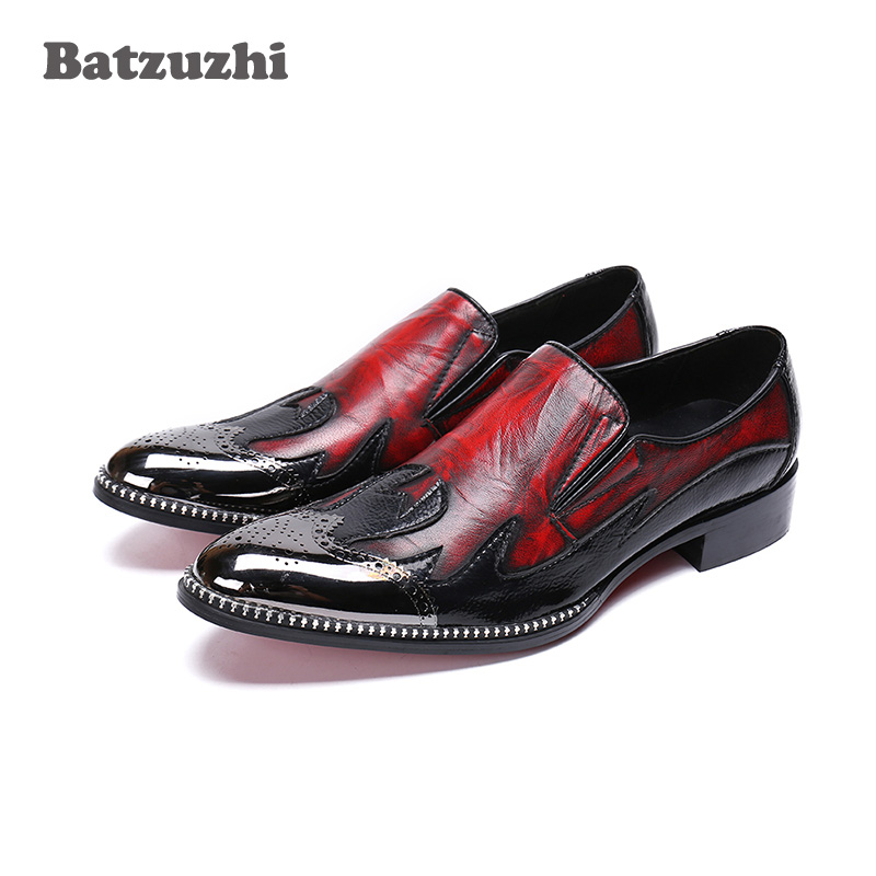 Batzuzhi Brand Luxury Men Dress Shoes Metal Tip Toe Wine Red Formal Business Leather Shoes Men Wedding and Party Zapatos Hombre batzuzhi italian luxury men shoes pointed iron toe formal men dress shoes colorful python pattern leather party wedding shoes