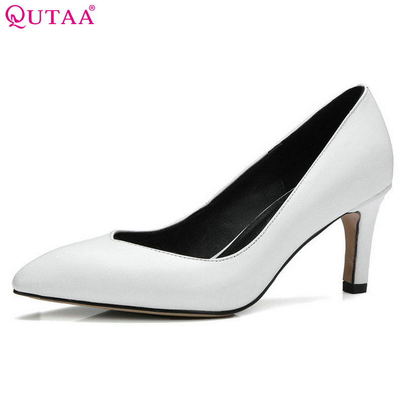 QUTAA Women Pumps Summer Ladies Shoes Thin High Heel Slip On Genuine Leather Platform Pointed Toe Ladies Wedding Shoe Size 34-39 qutaa 2017 silver women pumps thin high heel peep toe slip on platform sexy summer pu leather ladies wedding shoes size 34 43