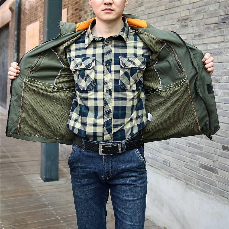 Весенняя мужская куртка повседневная плюс размер 5XL 6XL тонкие с капюшоном водонепроницаемые куртки военной армии на молнии пальто мульти карман ветровка для мужчин