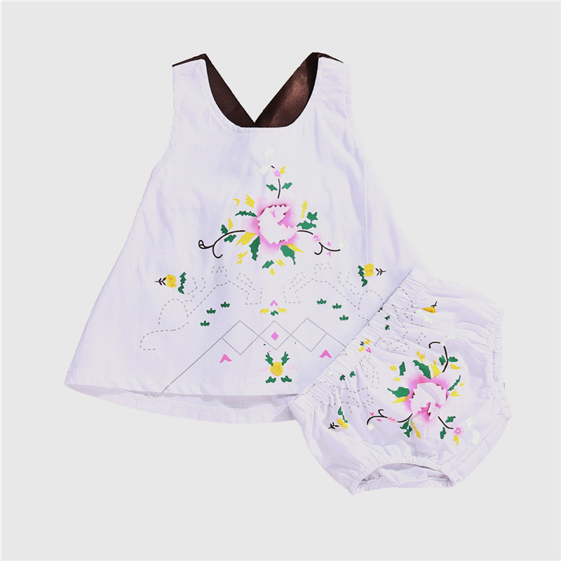 2Pcs New Style Fashion Newborn Baby Girls Clothes Summer Sleeveless T-shirt + Short Pant Casual Clothes Set