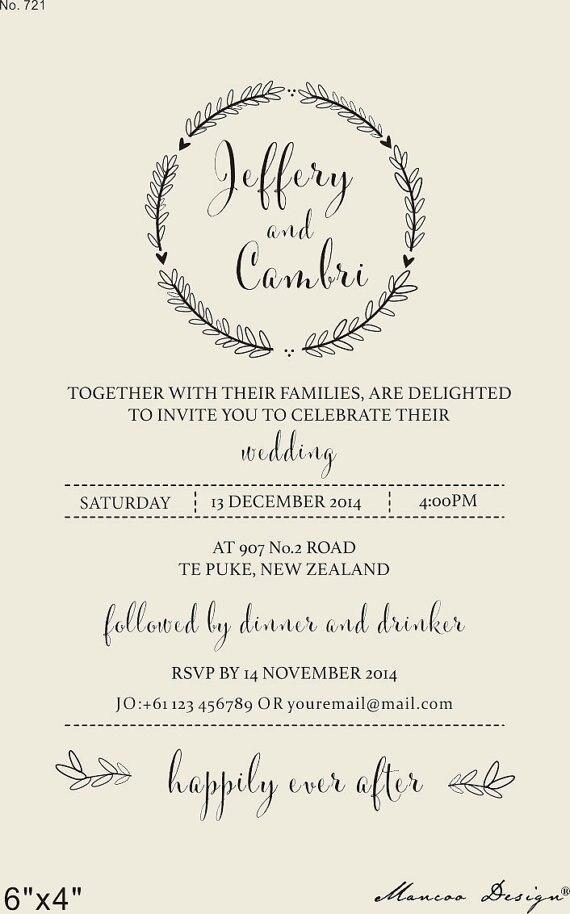 Custom wedding invitation rubber stamp Wedding invitation rubber ...