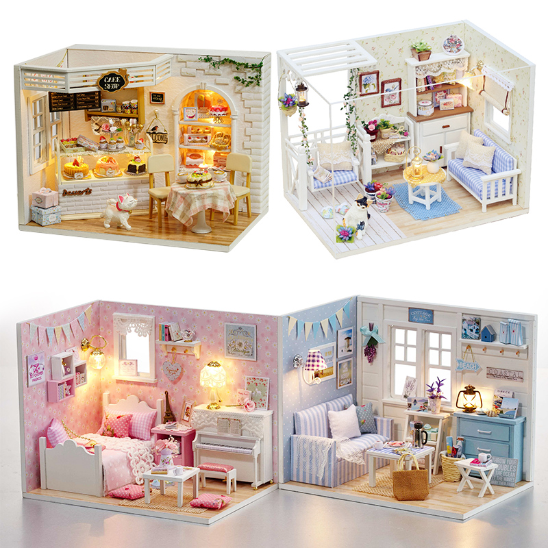 DIY Dollhouse Furniture Miniature Doll House Dust Cover With Led 3D Wooden Gift Puzzle Toys For Children Kitten Diary H013 #E