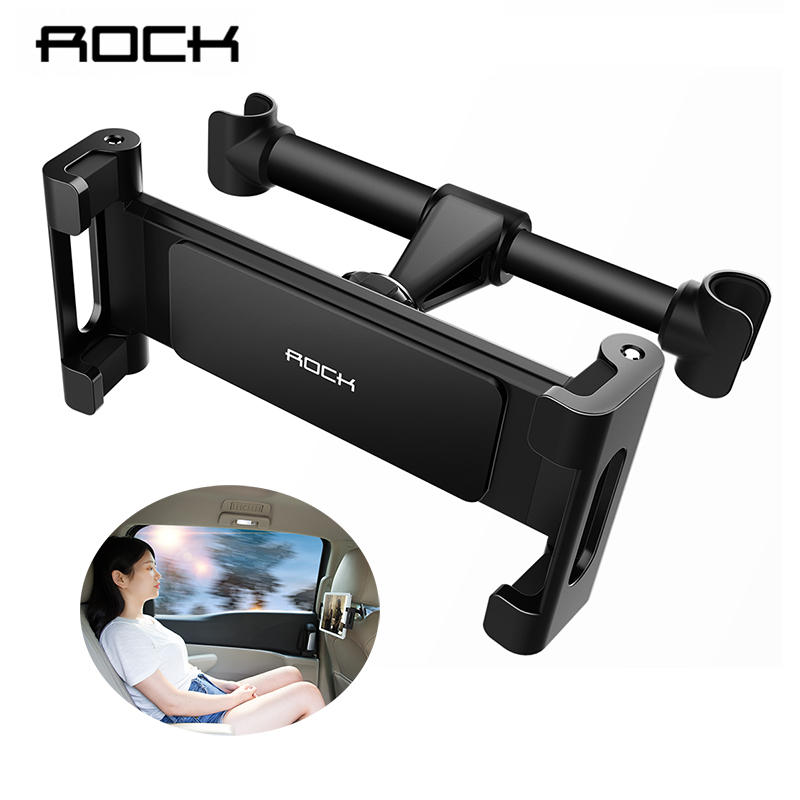 цена на Rock Car Back Seat Tablet Stand for iPad 2 3 4 5 Air 6 iPad Headrest Mount Holder Stand Soporte Movil For iPhone X 8 7 6 Plus