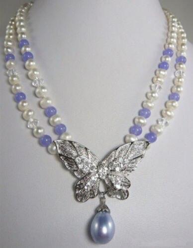 9368fe0472041 DARMOWA WYSYŁKA>>>>>>>> Gorąca sprzedaż W nowym Stylu 2 Wiersze White Pearl  Fioletowy kamień 18 18KWGP Kryształowy Naszyjnik Motyl