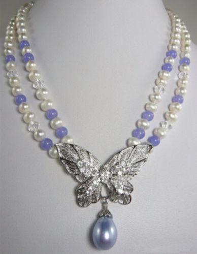 ENVÍO GRATIS>>>>>>>> Caliente venta nuevo Estilo 2 Filas White Pearl Jade Púrpura 18 18KWGP Crystal Collar Pendiente de La Mariposa