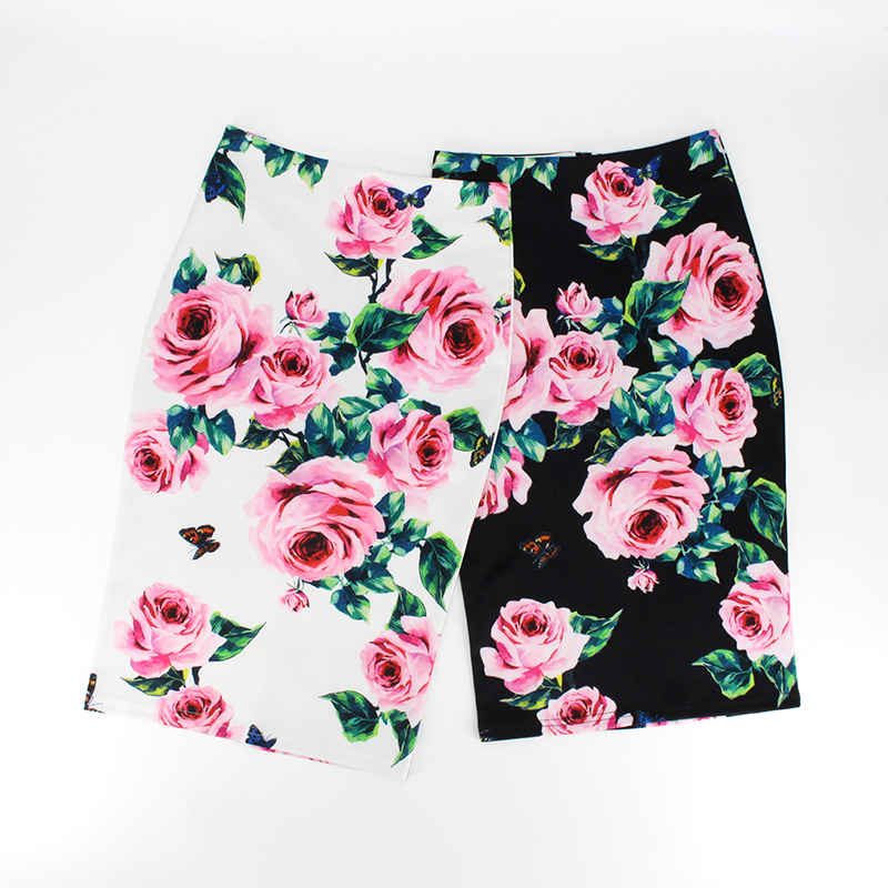 Hermicci 2019 Spring Summer Pencil Skirt Women High Waist Floral Print Midi Skirt Vintage Elegant Bodycon Office Lady Style