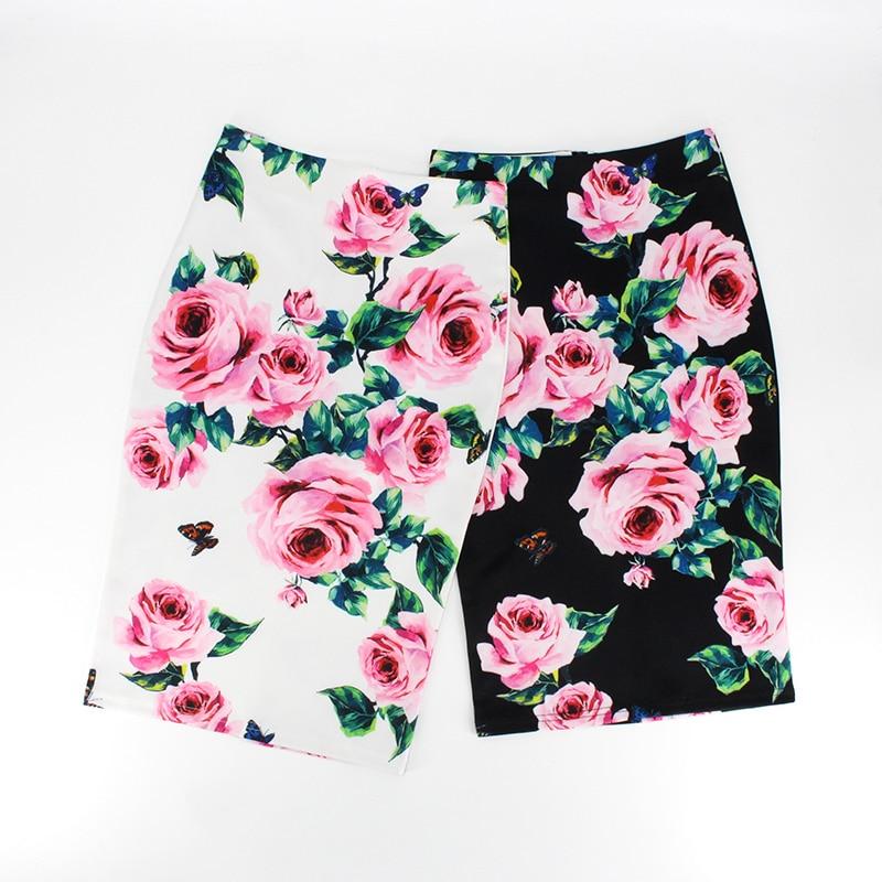 Hermicci 2019 Spring Summer Pencil Skirt Women High Waist Floral Print Midi Skirt Vintage Elegant Bodycon Office Lady Style