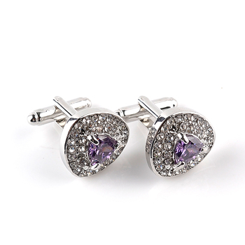 Luxury Cufflinks Men's  Zircon Black /Purple Crystal Cufflinks 5