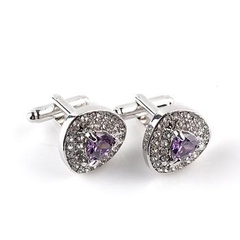 Luxury Cufflinks For Mens And Women Zircon Black Purple White Crystal Fashion Brand Cuff Botton High Quality 8