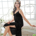 Free shipping women black sexy temptation nightdress girls long  plus size Large Sleepwear nightgown M1809-4