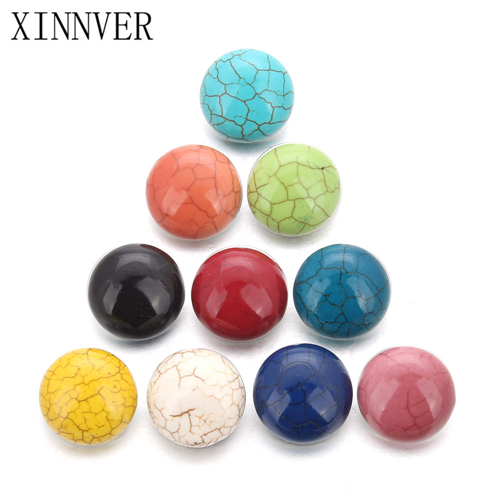 10pcs/lot 18mm Snaps Jewelry Cameo Multicolor 9 Colors Mixed Stone Snap Buttons For Ginger Button Snap Jewelry ZJ1517