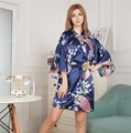 Top Selling Summer Women Mini Kimono Short Night Robe Navy Blue Faux Silk Bath Gown Nightgown Pijama Mujer One Size Msj001