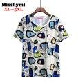 XL-5XL Plus Size T das Mulheres-ShirtsNew 2016 Verão Estilo Moda Bonito Engraçado Letra Impressa Algodão de Manga Curta Feminina T-shirt Tops