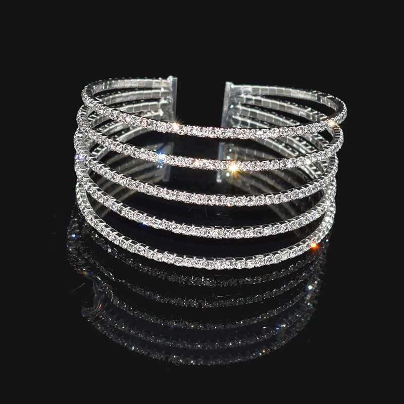 Fashion Rhinestone Stretch Silver Bracelets Femme Crystal Multi-layer Cuff Bracelet Bracelets Bling Wedding Jewelry
