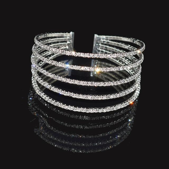 Fashion Rhinestone Stretch Silver Bracelets Femme Crystal Multi-layer Cuff Bracelet Bracelets Bling Wedding Jewelry