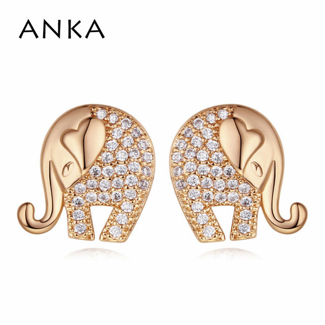 d9b524edc ANKA top zirconia luxury cute elephant stud earrings indian ethnic rose  gold color animal women earings fashion Jewelry #122022