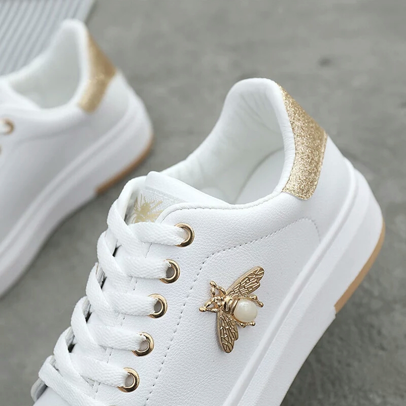 Image 3 - Casual Shoes Women Sneakers 2019 Fashion Rhinestone Platform White Sneakers For Women Breathable PU Leather Shoes Tennis Female-in Women's Flats from Shoes