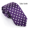 Tailor Smith Polka Dot Violet Purple Tie Luxury Pure Silk Woven Jacquard Business Wedding Dress Formal Office Casual Neckwear