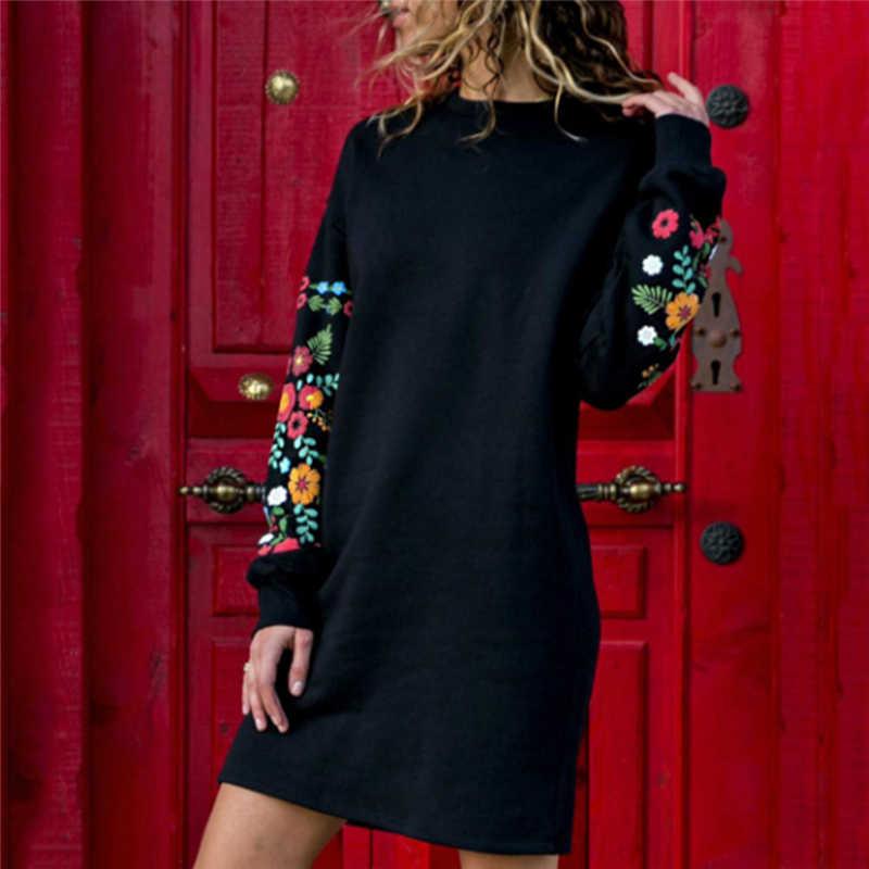 Женское осенне-зимнее мини-платье с длинным рукавом, винтажные Короткие Платья с цветочным принтом, Женский пуловер, повседневное прямое платье Vestidos Bigsweety
