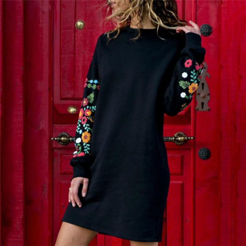 Для женщин осень зима мини платье с длинным рукавом Винтаж Цветочный Принт короткие платья для Женский пуловер повседневное прямые