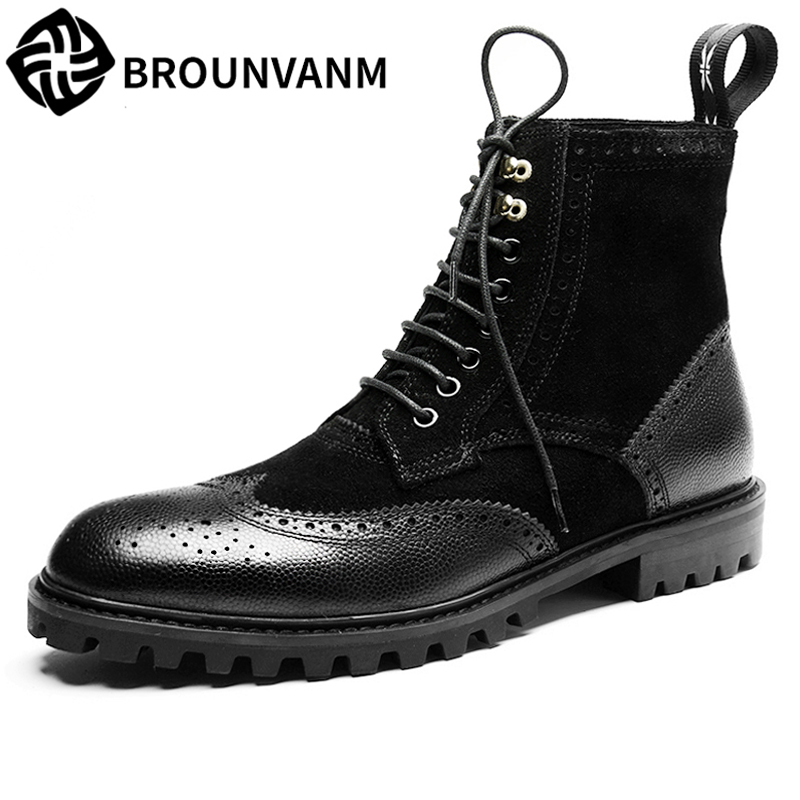 Bullock men's winter warm cashmere men Martin boots help British retro style boots shoes for men high leather shoes breathable martin boots men s high boots korean shoes autumn winter british retro men shoes front zipper leather shoes breathable