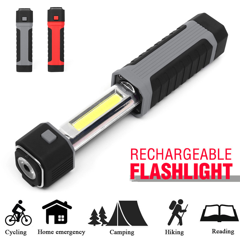 Portable COB LED Flashlight Work Light Car Garage Mechanic Home Rechargeable Torch Lamp