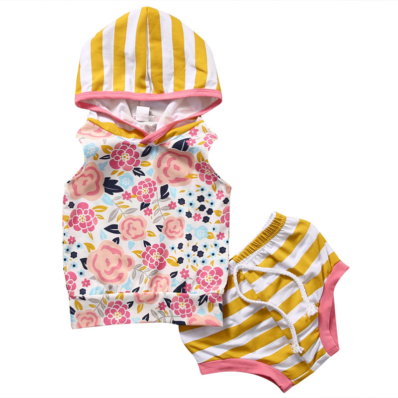 Newborn Toddler Baby Boy Girls Clothes 2pcs Flowers Print Sleeveless Striped HoodieTop Shorts Panties Outfit Set