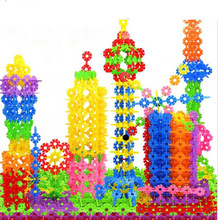 600Pcs 3D פאזל פאזל פלסטיק Snowflake אבני בניין בניין דגם פאזל חינוכיים פאזל חינוכי מודיעין צעצועים