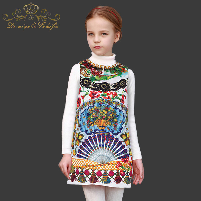 купить Domiya&Fakifii Kid Dresses for Girls Costume Princess Dress Christmas Flower Pattern Toddler Girls Winter Dress Children Clothes