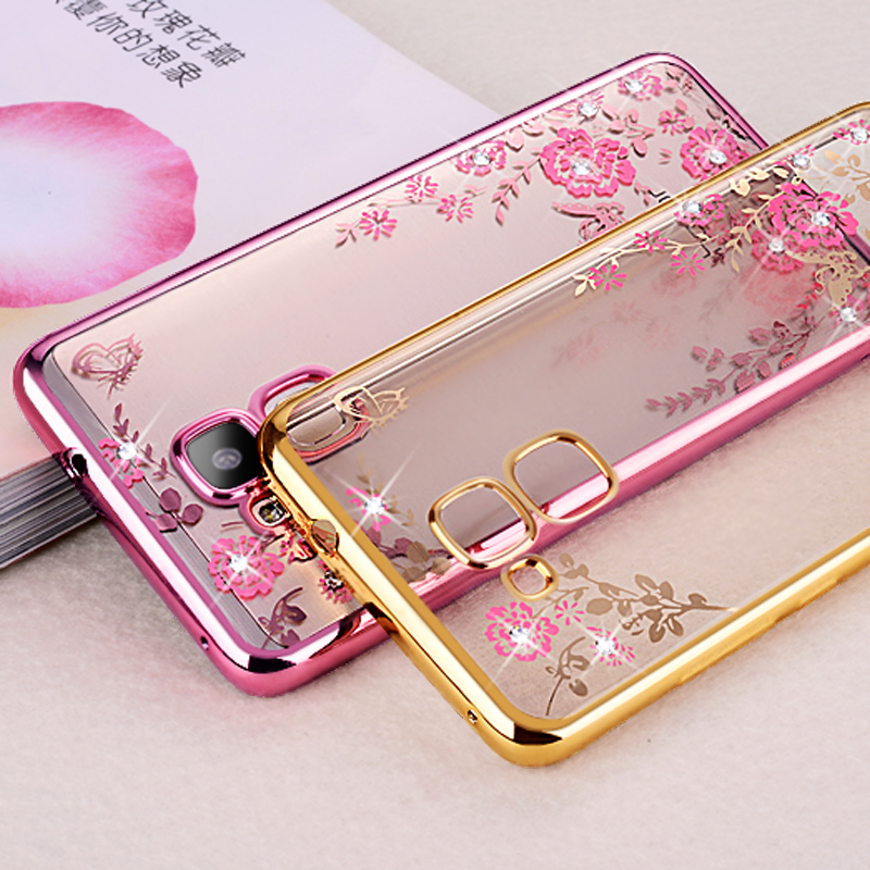 05 Protect Soft Rose Gold TPU Flower Cover Sparkly Gliter <font><b>case</b></font> For Huawei GT3 GT 3 <font><b>Honor</b></font> 5C 5 C Nmo L23 L31 / <font><b>7</b></font> <font><b>Lite</b></font> Honor7Lite image