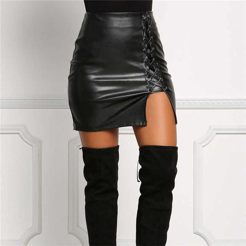 Sexy Women PU Bandage Leather Pencil Bodycon Casual Slim Solid High Waist Mini Skirt Black Regular Size Summer Autumn Clothes