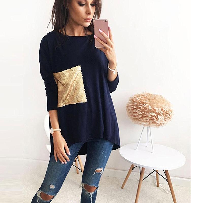 2017 Summer Autumn Women Blouse Bling Patch Pocket Long Sleeves