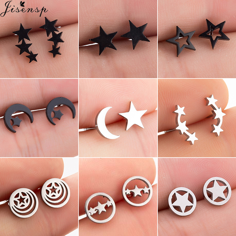 Jisensp New Small Star Earrings 2019 Black Stainless Steel Stud Earrings For Women Everyday Jewelry Cute Moon Earings Oorbellen