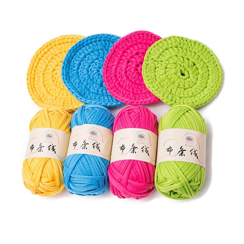 100g/ball Thick Cloth Fabric Strip Yarn 100% Polyester Craft For Hand Knitting Crochet DIY Cushion Blanket Cloth Strip JK493