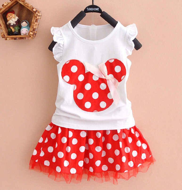 פעוט בנות תינוק ילדים Cartoon למעלה חולצה שמלת קיץ תלבושות בגדים