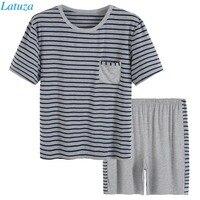 Modal Cotton Pajamas Set Men Summer Short Sleeve Striped Plus Size XXXL Sleepwear Men Pyjamas Male Lounge Pajama Suit Home Wear