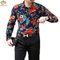 Большой Размер Хлопок Цветочные Сорочка Homme 6XL 5XL Национальный Стиль Brand Clothing Camisa Masculina Длинным Рукавом Рубашки Мужчины 2017 Новый