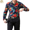 Large Size Cotton Floral Chemise Homme 6XL 5XL National Style Brand Clothing Camisa Masculina Long Sleeve Shirt Men 2017 New