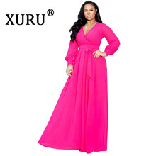 XURU summer new women's chiffon dress fashion sexy solid color V-neck large swing dress beach large size dress цена
